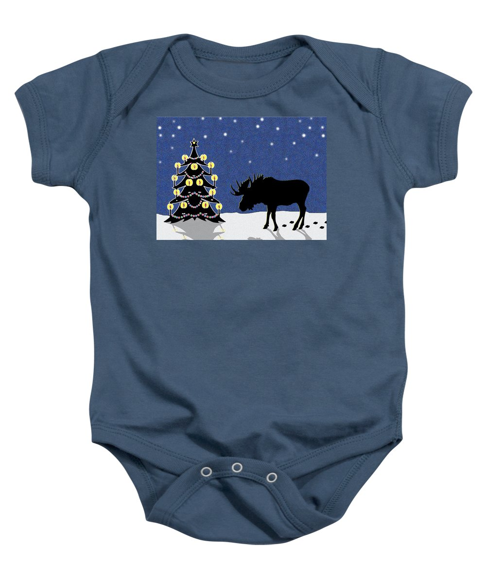 Moose Baby Onesie featuring the digital art Candlelit Christmas Tree And Moose In The Snow by Nancy Mueller