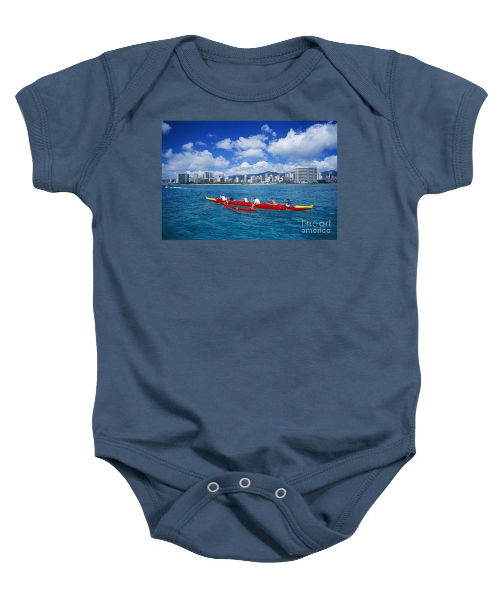 Afternoon Baby Onesie featuring the photograph Canoe Race by Dave Fleetham - Printscapes