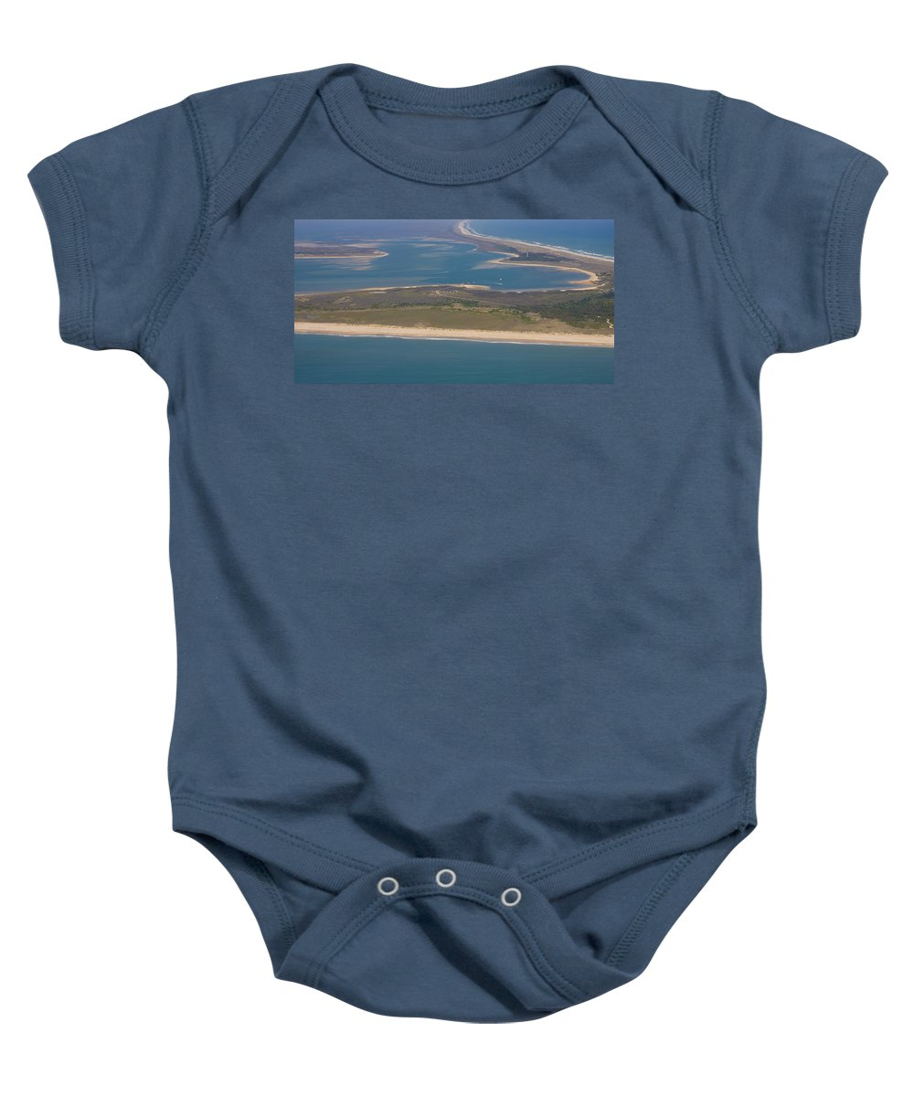 Harkers Island Baby Onesie featuring the photograph Cape Lookout Lighthouse Distance by Betsy Knapp