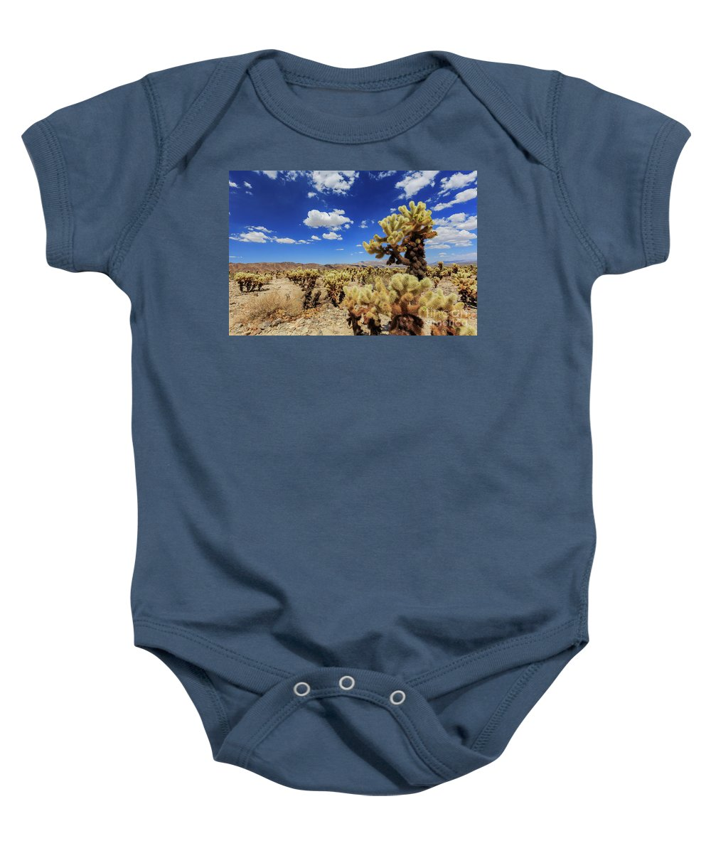 Cholla Cactus Garden Baby Onesie featuring the photograph Cholla Cactus Garden In Joshua Tree National Park by Chon Kit Leong