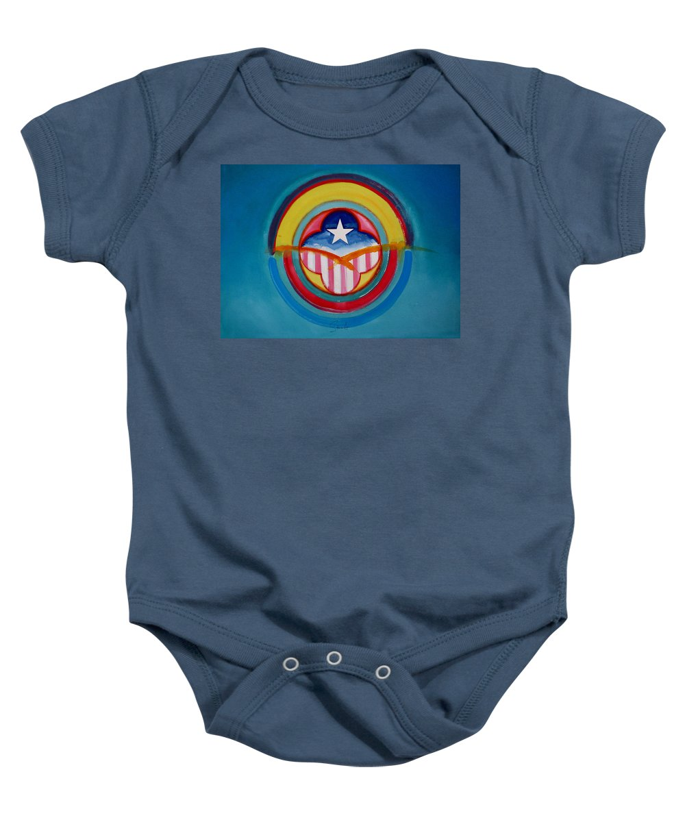 Button Baby Onesie featuring the painting CIA by Charles Stuart