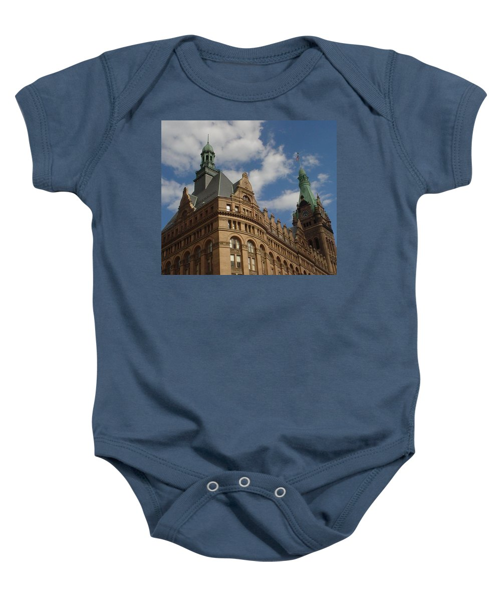 Milwaukee Baby Onesie featuring the photograph City Hall Roof And Tower by Anita Burgermeister