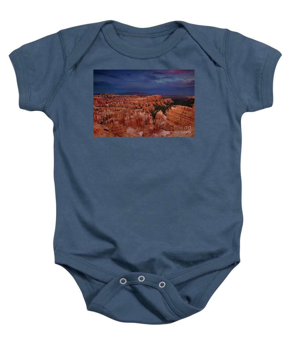 North America Baby Onesie featuring the photograph Clearing Storm Over The Hoodoos Bryce Canyon National Park by Dave Welling