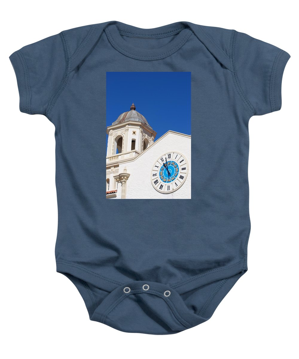 Clock Baby Onesie featuring the photograph Clock And Tower by Rob Hans