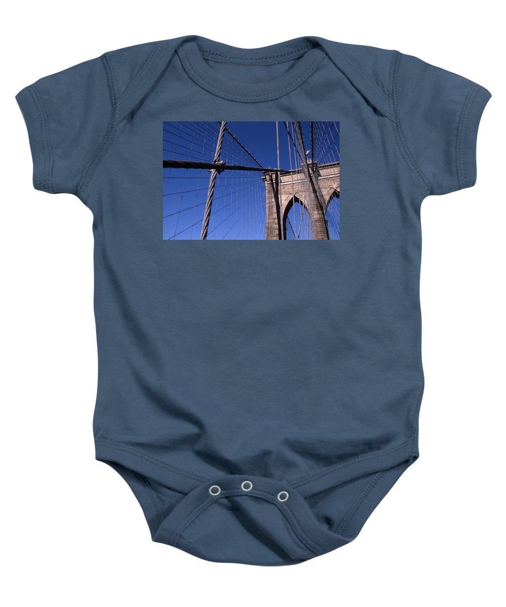 Landscape Brooklyn Bridge New York City Baby Onesie featuring the photograph Cnrg0405 by Henry Butz