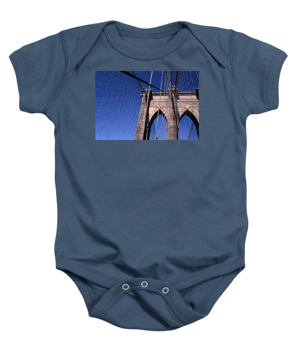 Landscape Brooklyn Bridge New York City Baby Onesie featuring the photograph Cnrg0406 by Henry Butz