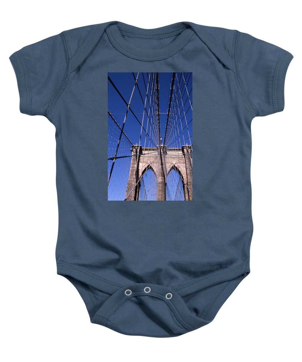Landscape Brooklyn Bridge New York City Baby Onesie featuring the photograph Cnrg0407 by Henry Butz