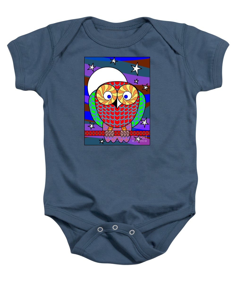 Owl Baby Onesie featuring the digital art Colourful Owl by Santi Goma Rodriguez