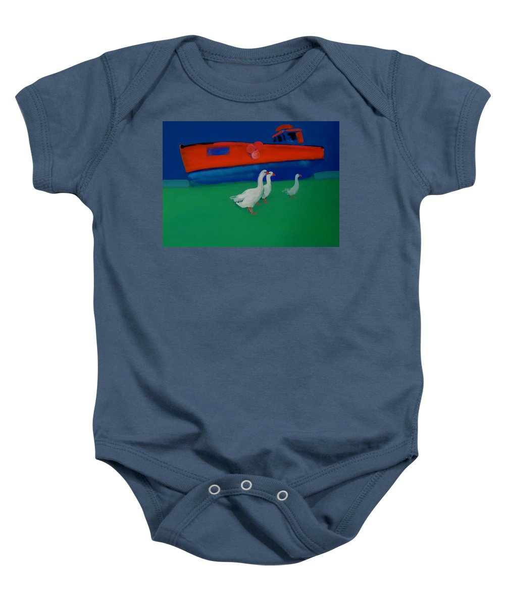 Geese Baby Onesie featuring the painting Cool And Dry by Charles Stuart