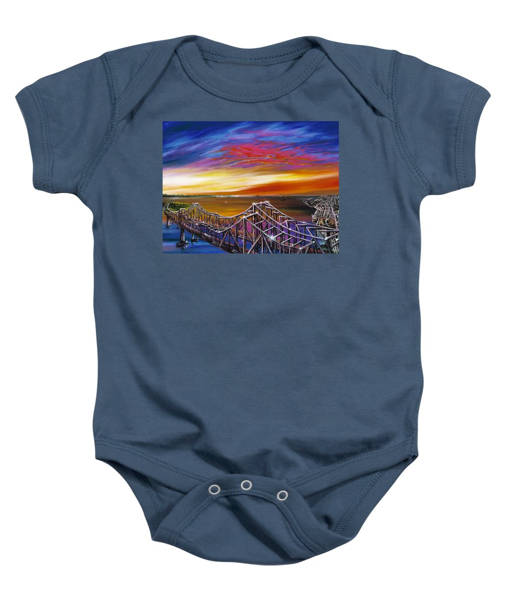 Clouds Baby Onesie featuring the painting Cooper River Bridge by James Christopher Hill