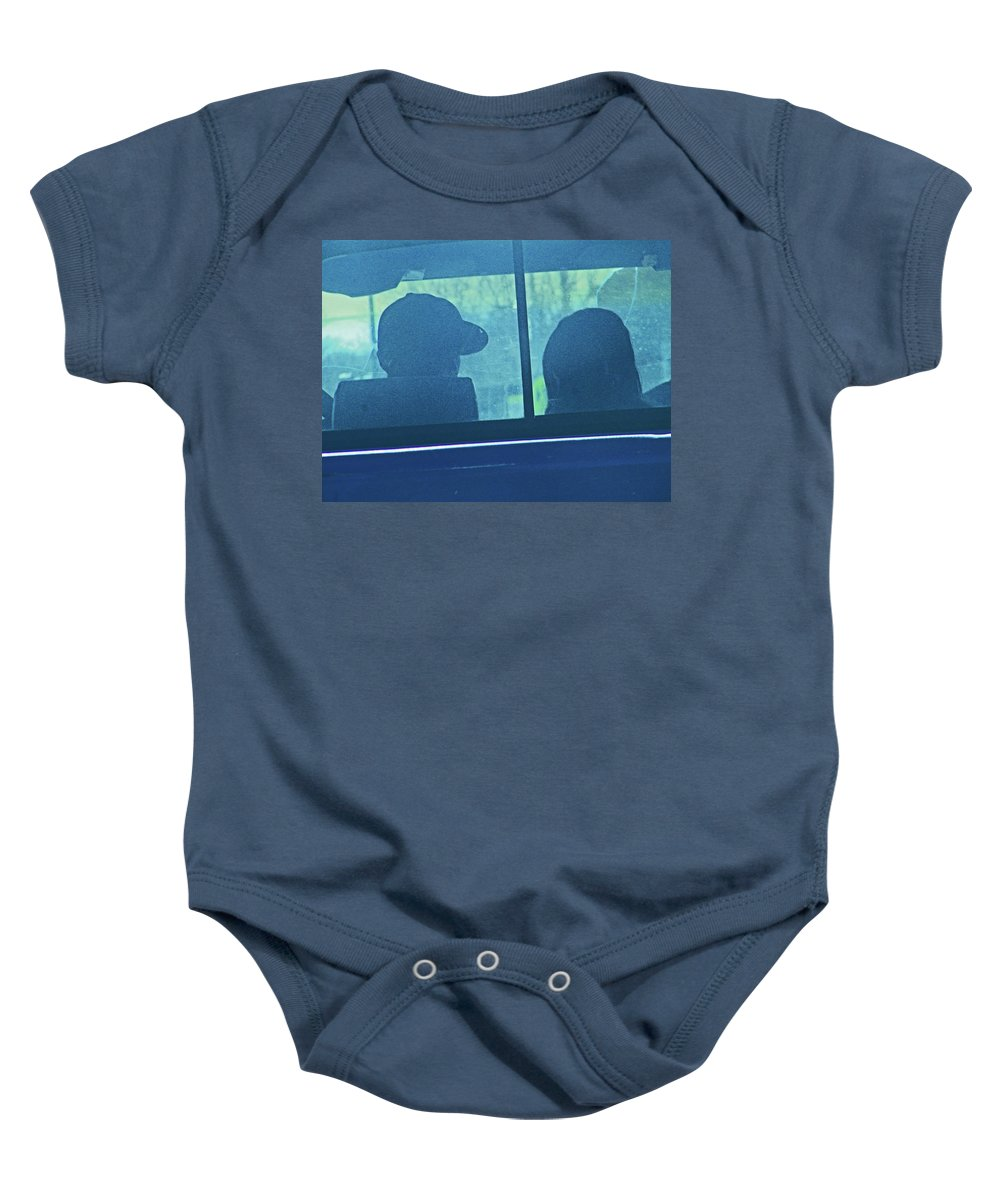 Abstract Baby Onesie featuring the photograph Couple In The Truck by Lenore Senior