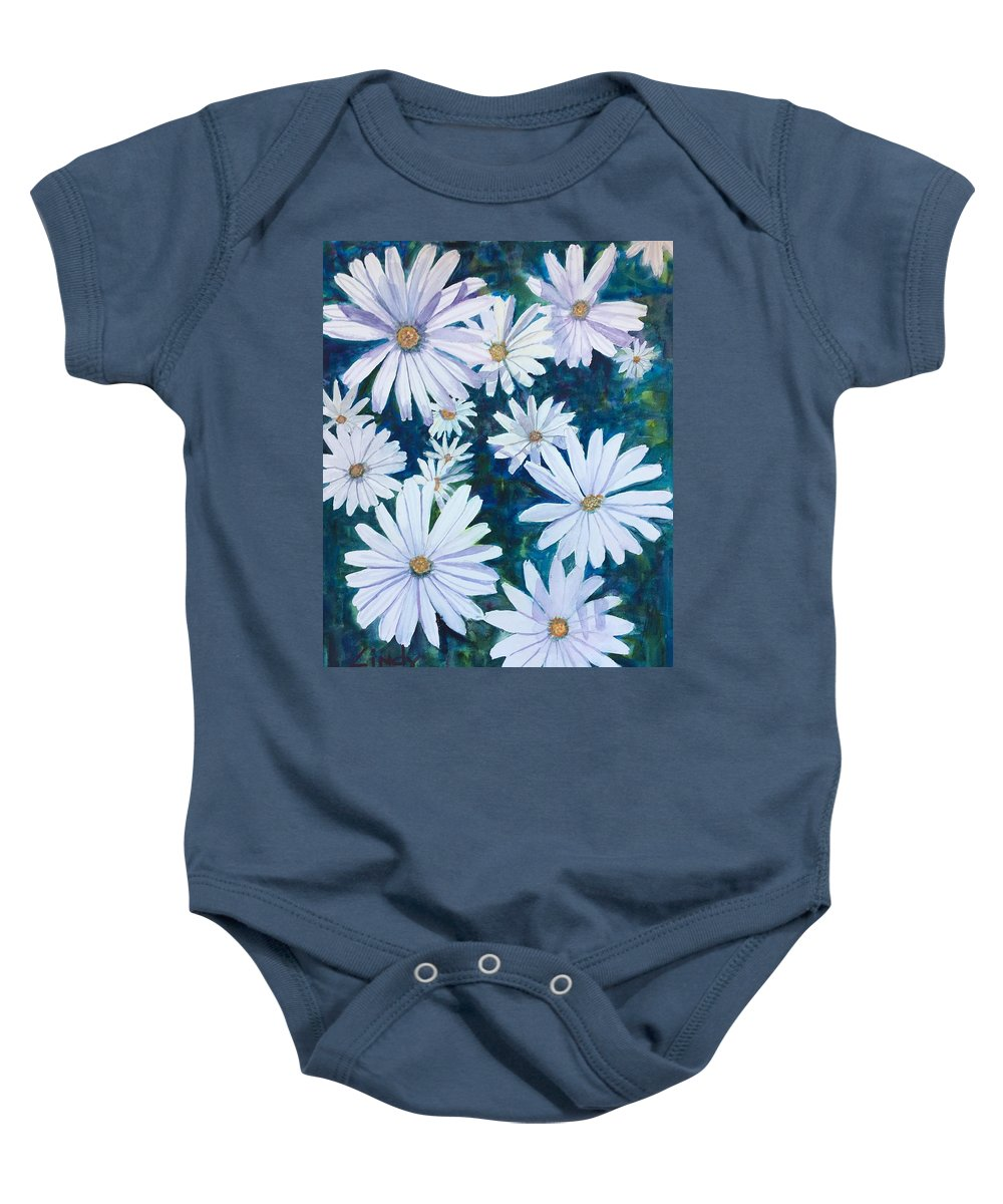 Daisies Baby Onesie featuring the painting Daisies Galore by Cindy McLean