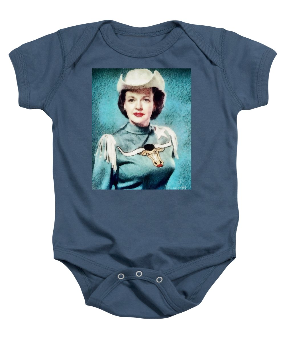 Hollywood Baby Onesie featuring the painting Dale Evans, Vintage Hollywood Star by John Springfield