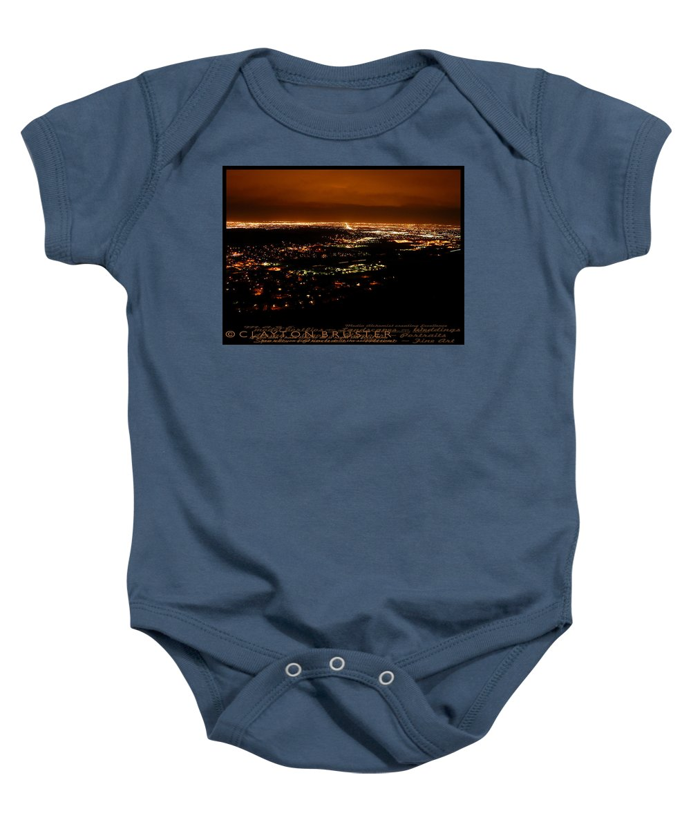 Clay Baby Onesie featuring the photograph Denver Area At Night From Lookout Mountain by Clayton Bruster