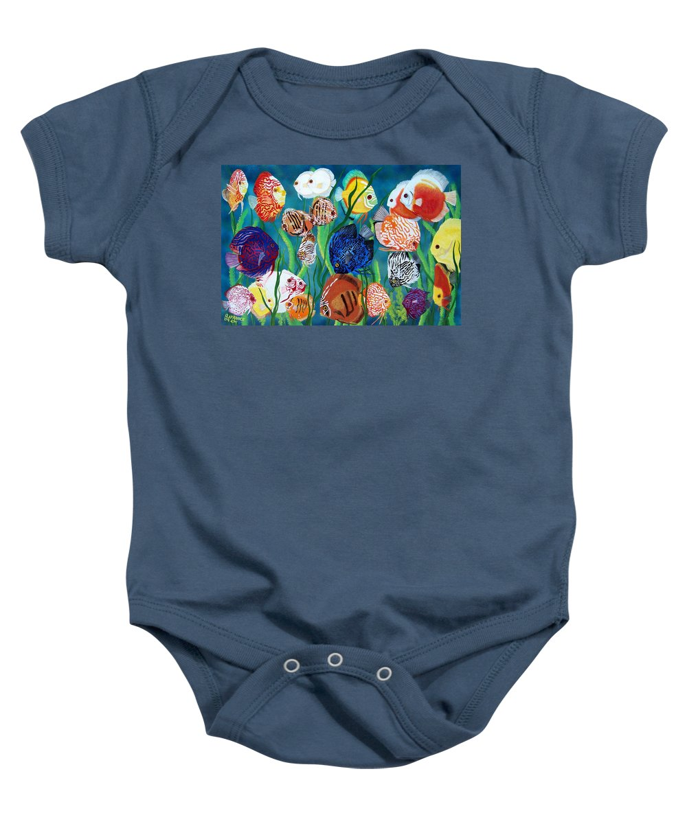 Fish Baby Onesie featuring the painting Discus Fantasy by Debbie LaFrance