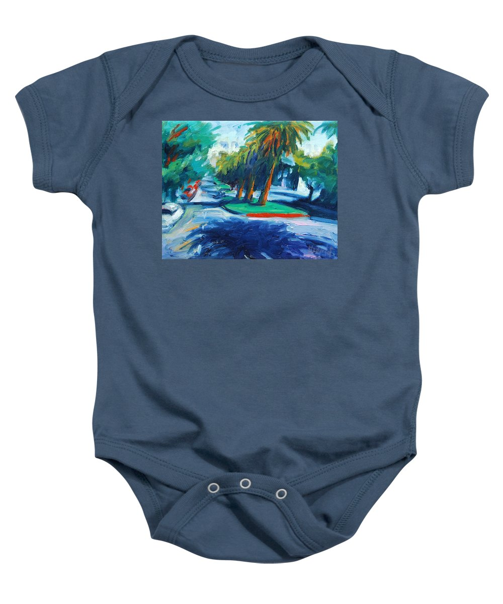 San Francisco Baby Onesie featuring the painting Downhill by Rick Nederlof