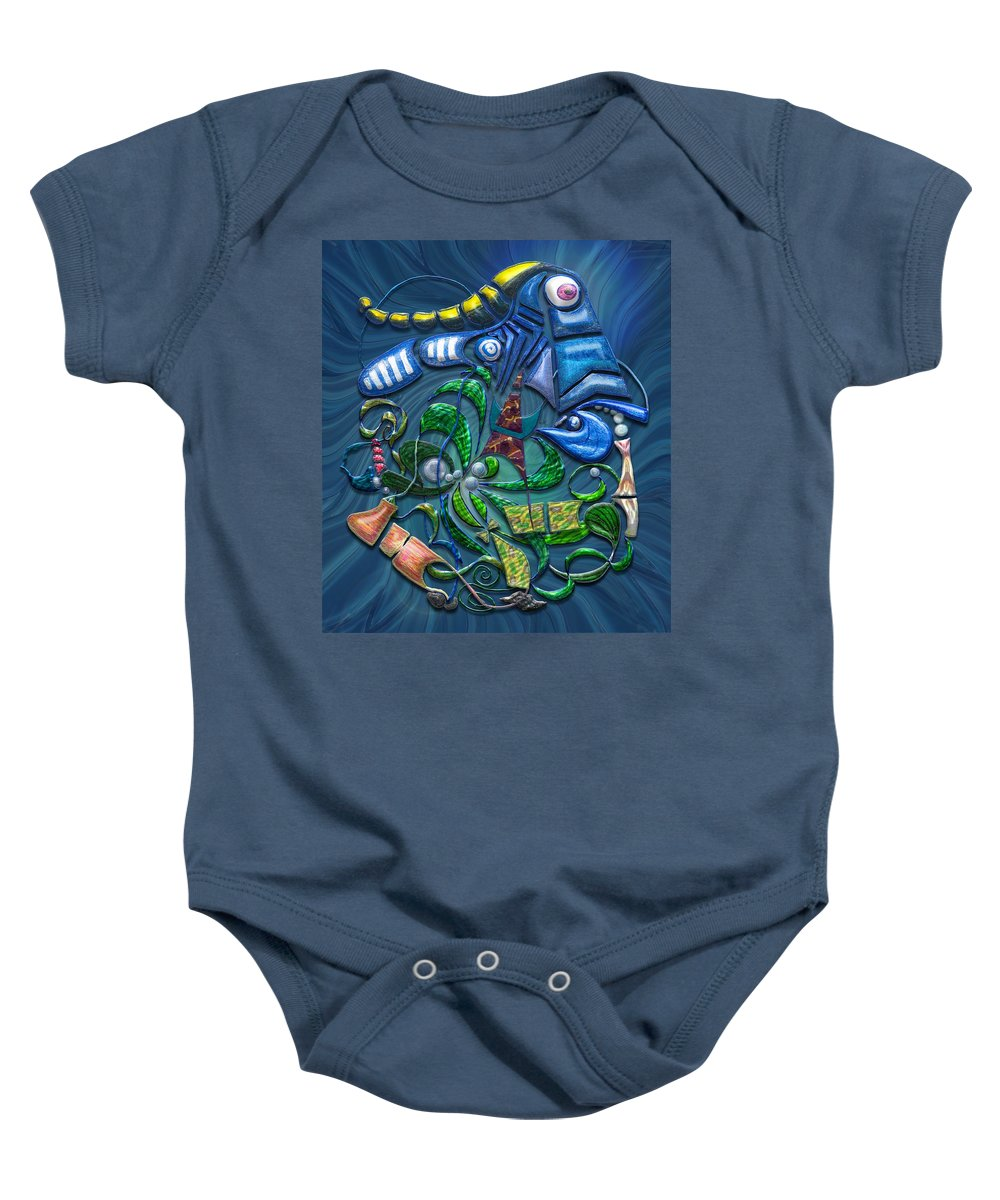 Blue Baby Onesie featuring the digital art Dreaming With The Fishes by Mark Sellers