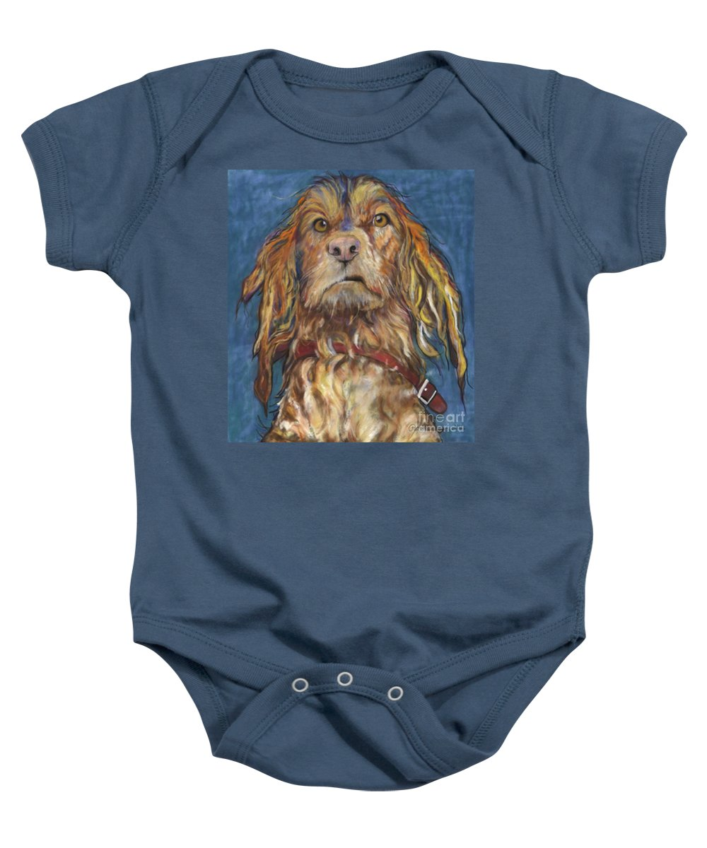 Golden Retriever Painting Baby Onesie featuring the pastel Drenched by Pat Saunders-White