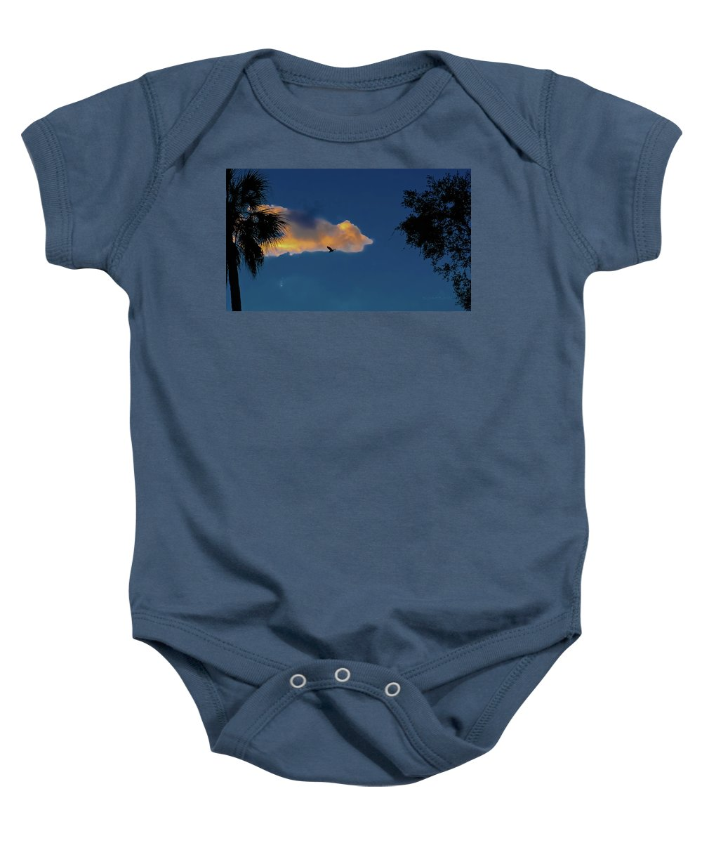 Sunset Baby Onesie featuring the photograph Egressing Egret by DigiArt Diaries by Vicky B Fuller