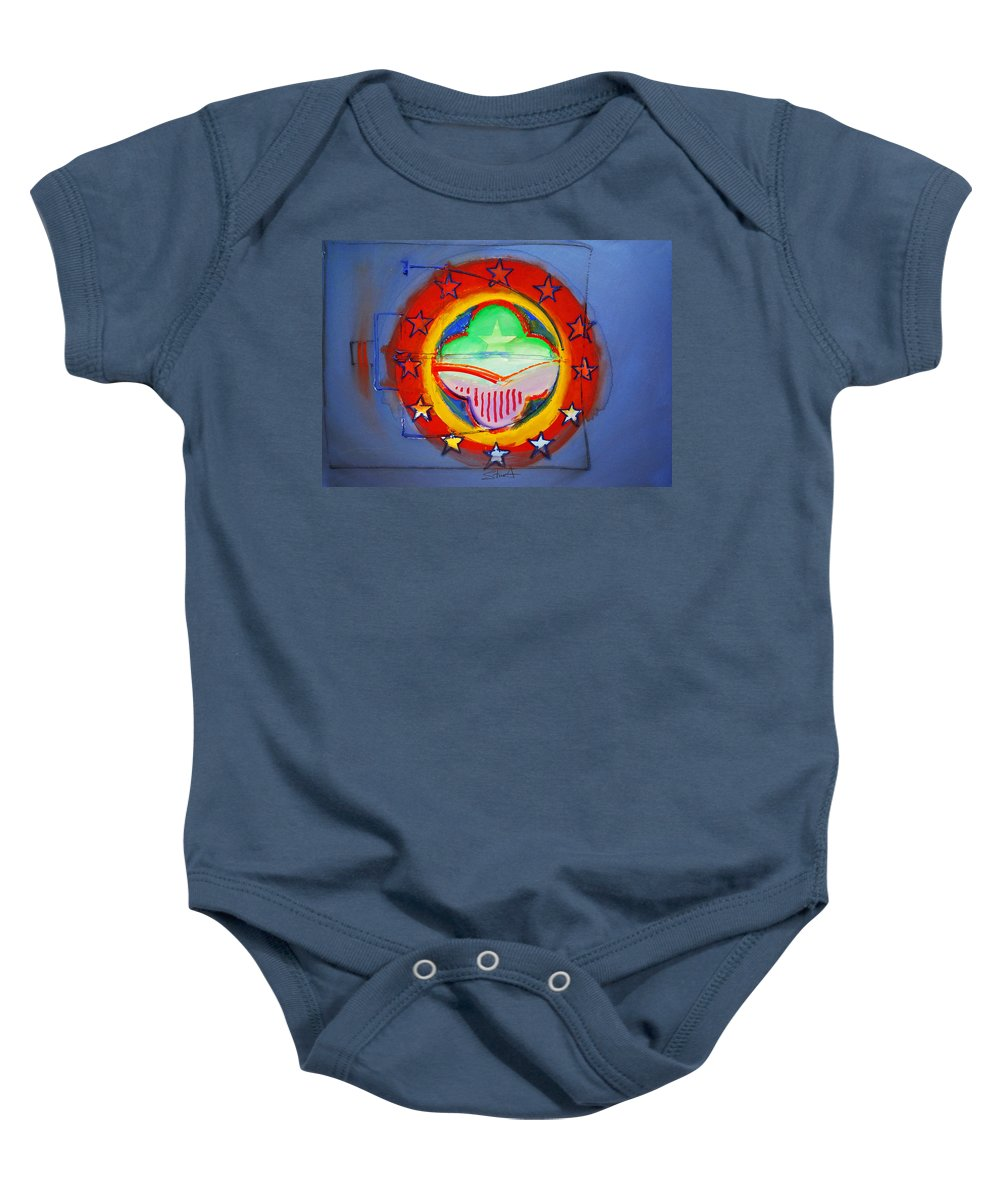 Symbol Baby Onesie featuring the painting EMU by Charles Stuart