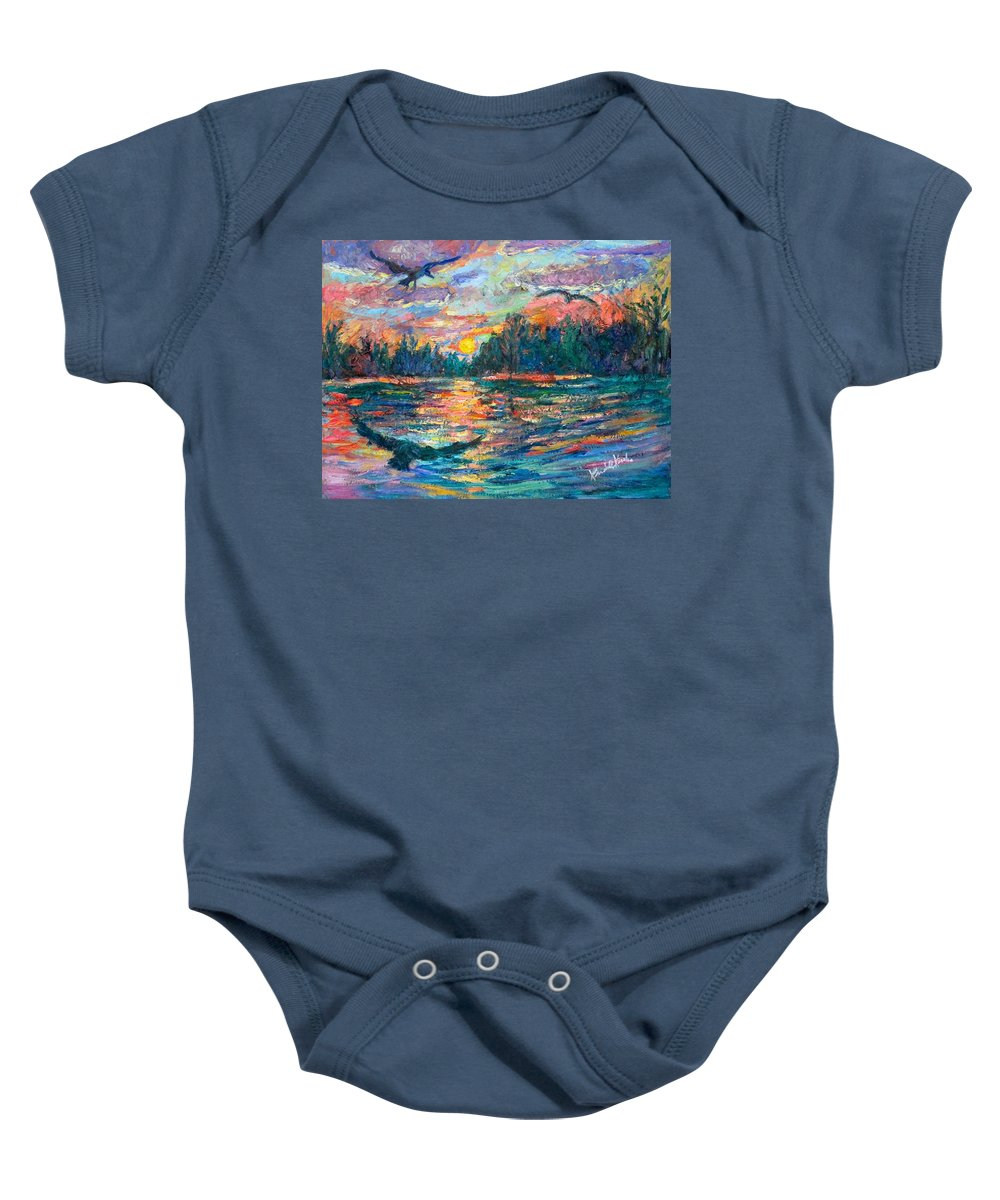 Landscape Baby Onesie featuring the painting Evening Flight by Kendall Kessler