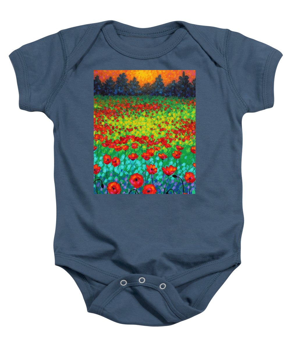 Acrylic Baby Onesie featuring the painting Evening Poppies by John Nolan