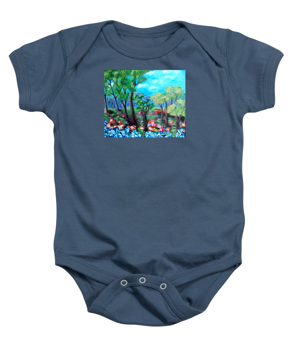 Fantasy Baby Onesie featuring the painting Fantasy Forest by Laurie Morgan