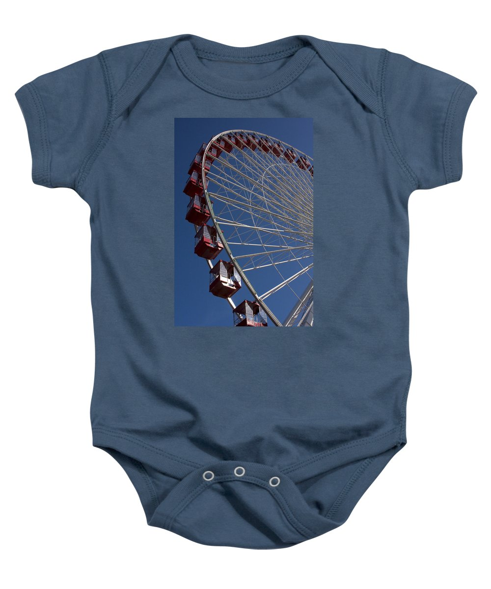 Chicago Windy City Ferris Wheel Navy Pier Attraction Tourism Round Tourist Travel Blue Sky Park Baby Onesie featuring the photograph Ferris Wheel Iv by Andrei Shliakhau