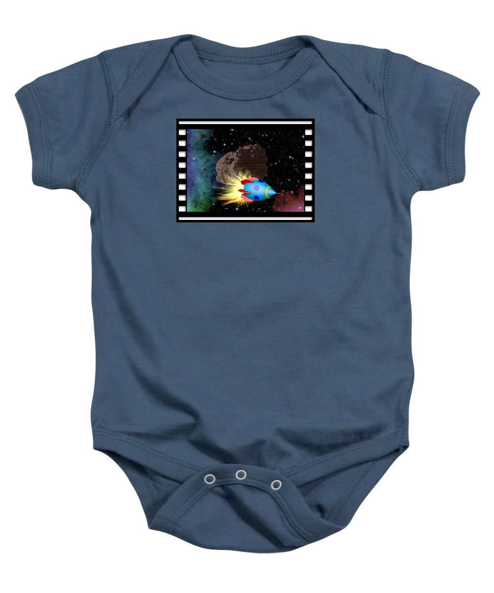 Film Baby Onesie featuring the digital art Film Frame With Asteroid And Rocket by Miroslav Nemecek