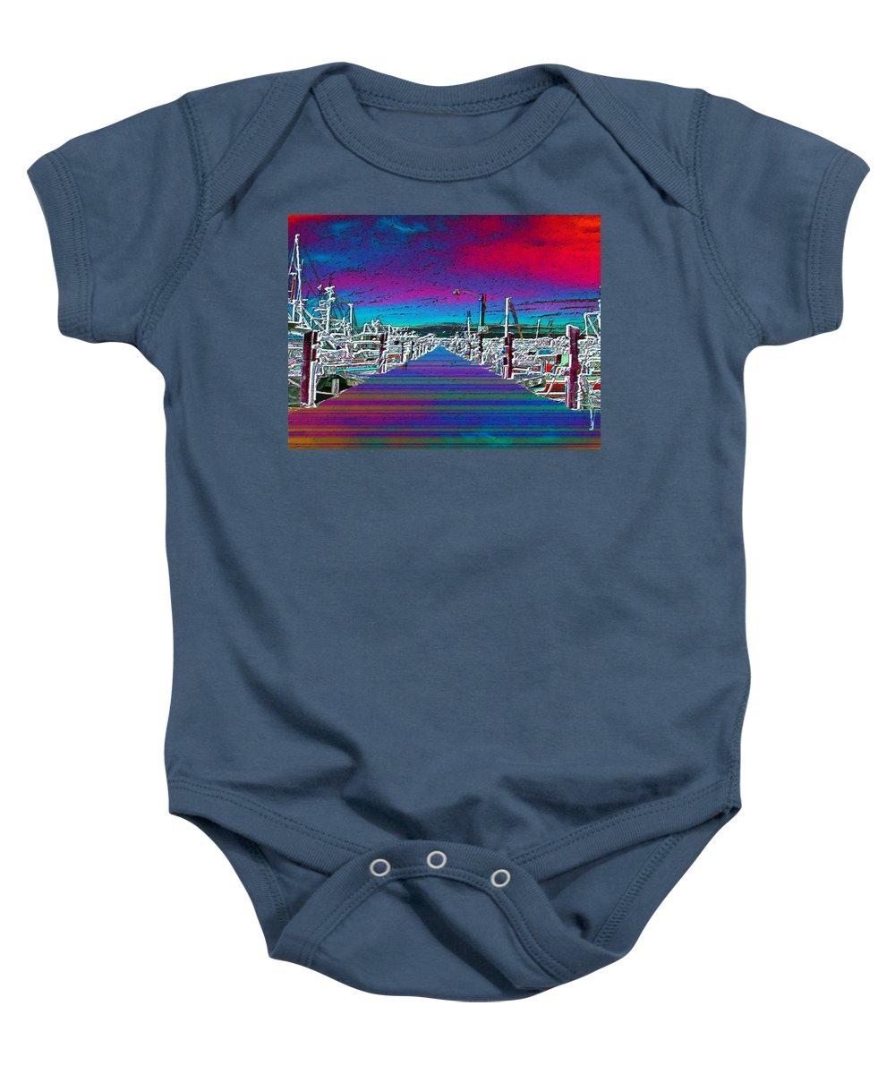 Seattle Baby Onesie featuring the photograph Fishermans Terminal Pier by Tim Allen