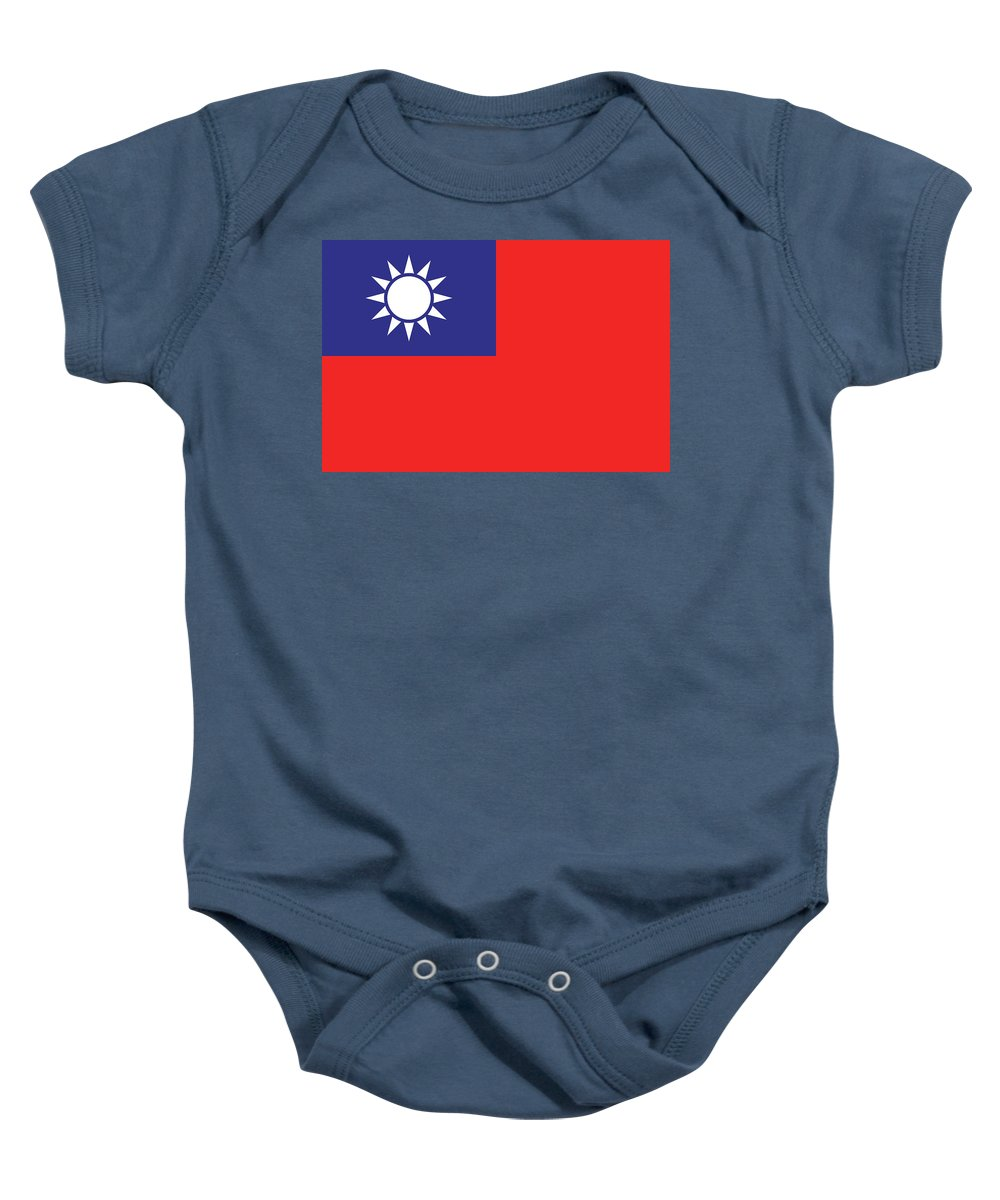 Taiwan Baby Onesie featuring the digital art Flag Of Taiwan by Roy Pedersen