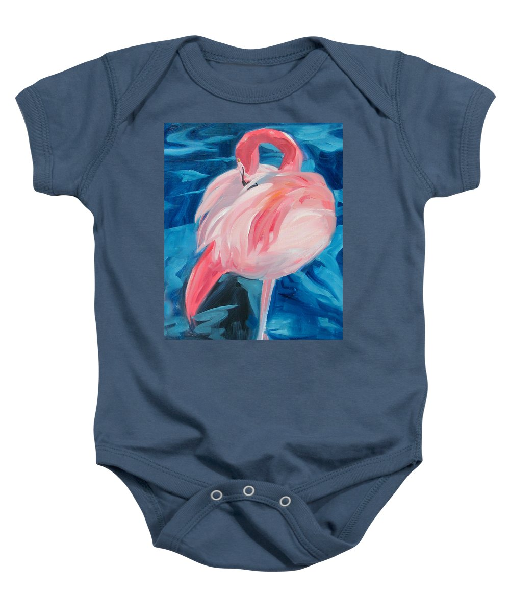 Tropical Baby Onesie featuring the painting Flamingo by Neal Smith-Willow