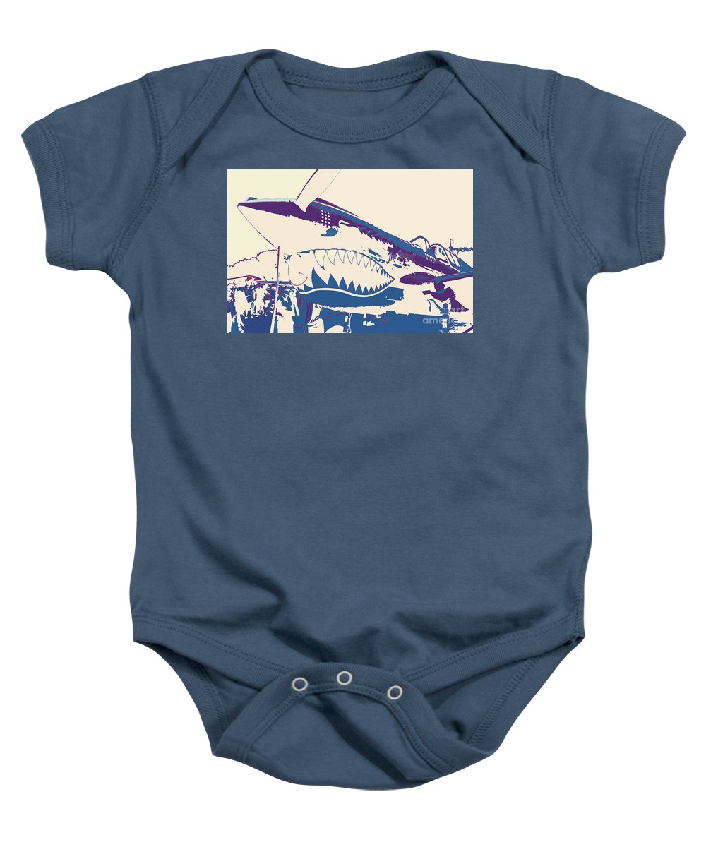 Flying Tiger Blue Purple Baby Onesie featuring the digital art Flying Tiger Blue Purple by Chris Taggart