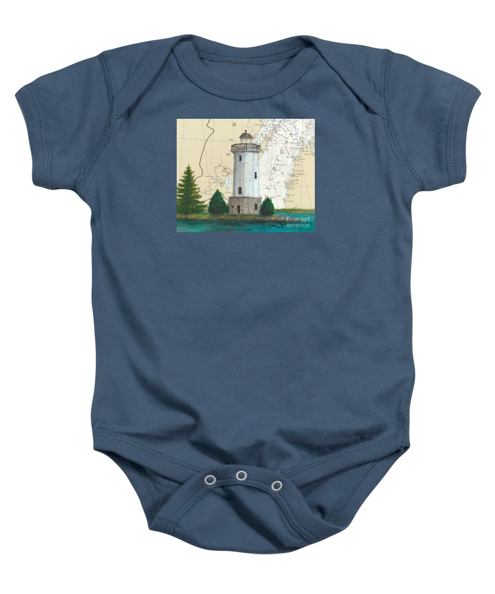 Fon Du Lac Baby Onesie featuring the painting Fon Du Lac Lighthouse Wi Nautical Chart Map Map by Cathy Peek