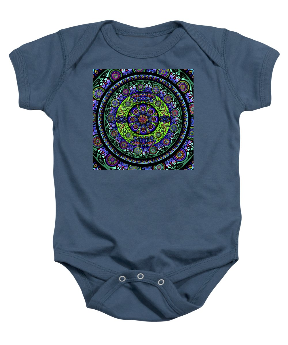Baby Onesie featuring the mixed media Garden Buddha Mandala by Wagl Store