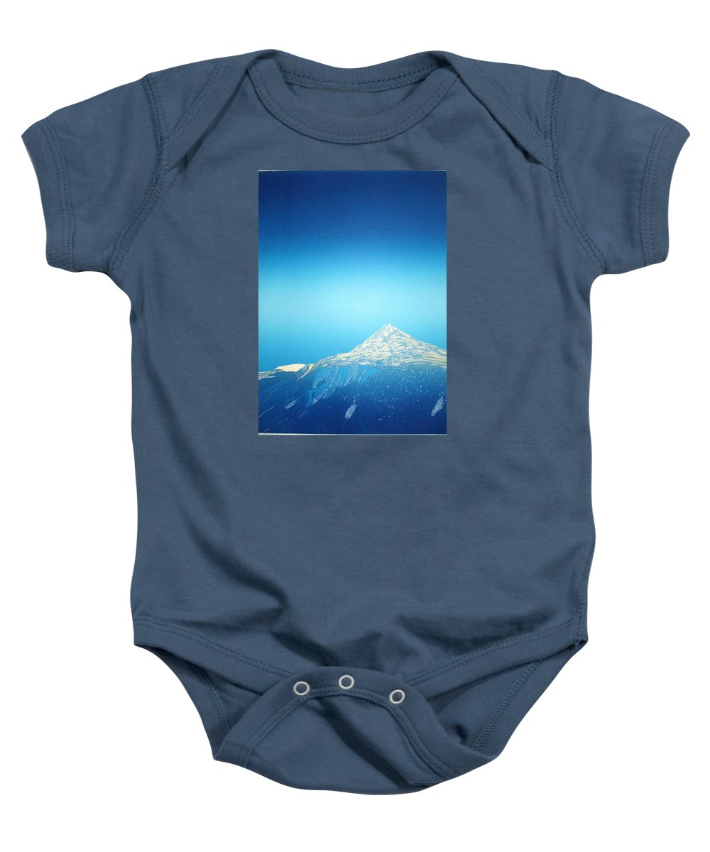 Baby Onesie featuring the drawing Gaustatoppen. by Jarle Rosseland