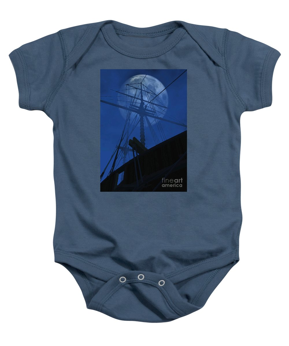 Ghost Ship Baby Onesie featuring the digital art Ghost Ship by Richard Rizzo
