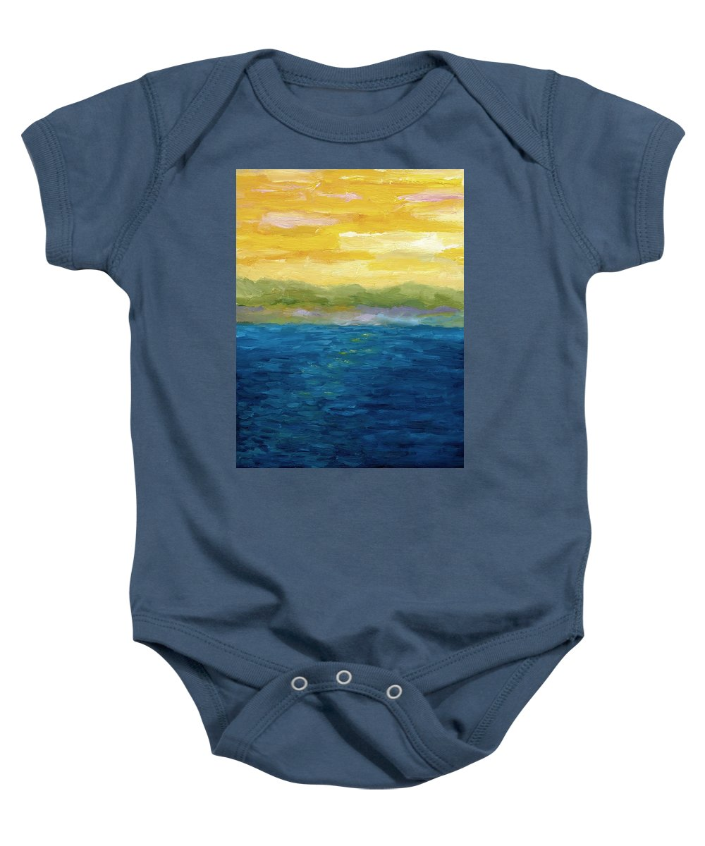 Lake Baby Onesie featuring the painting Gold And Pink Sunset by Michelle Calkins
