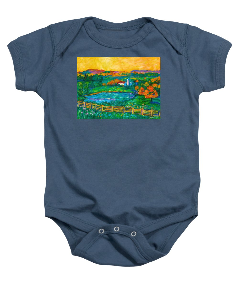 Landscape Baby Onesie featuring the painting Golden Farm Scene Sketch by Kendall Kessler
