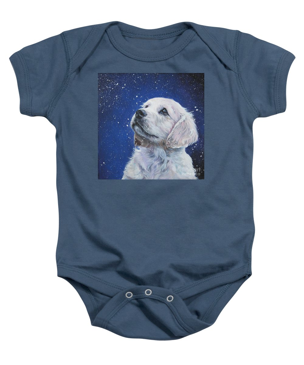 Dog Baby Onesie featuring the painting Golden Retriever Pup In Snow by Lee Ann Shepard