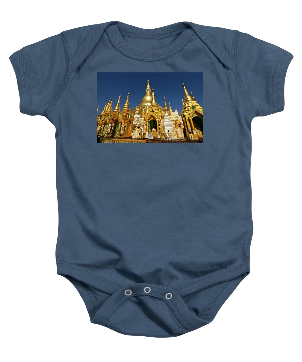 Asia Baby Onesie featuring the photograph Golden Spires by Michele Burgess
