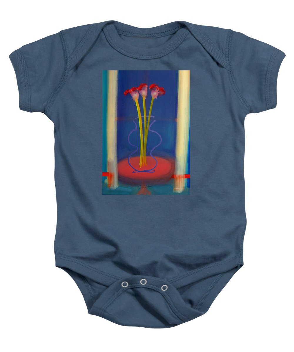 Guitar Baby Onesie featuring the painting Guitar Vase by Charles Stuart