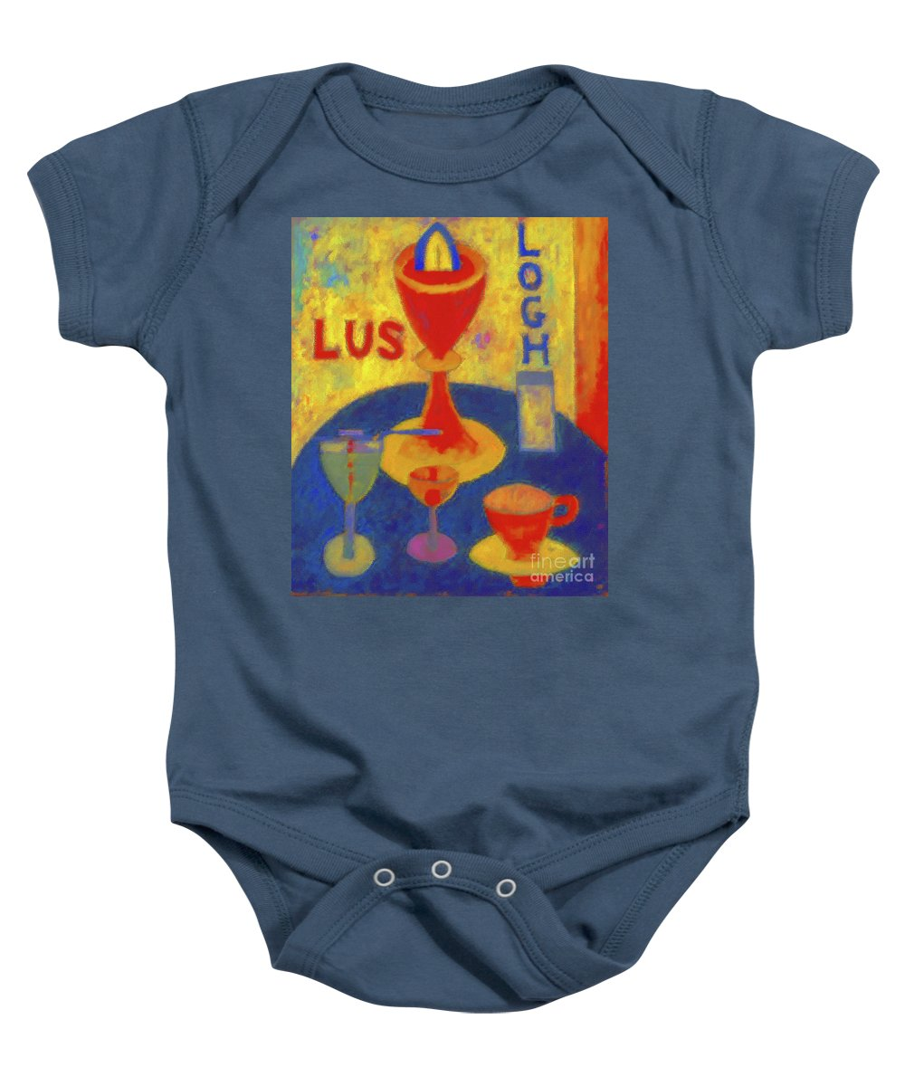 Handsome Drinks Baby Onesie featuring the painting Handsome Drinks by D Fessenden