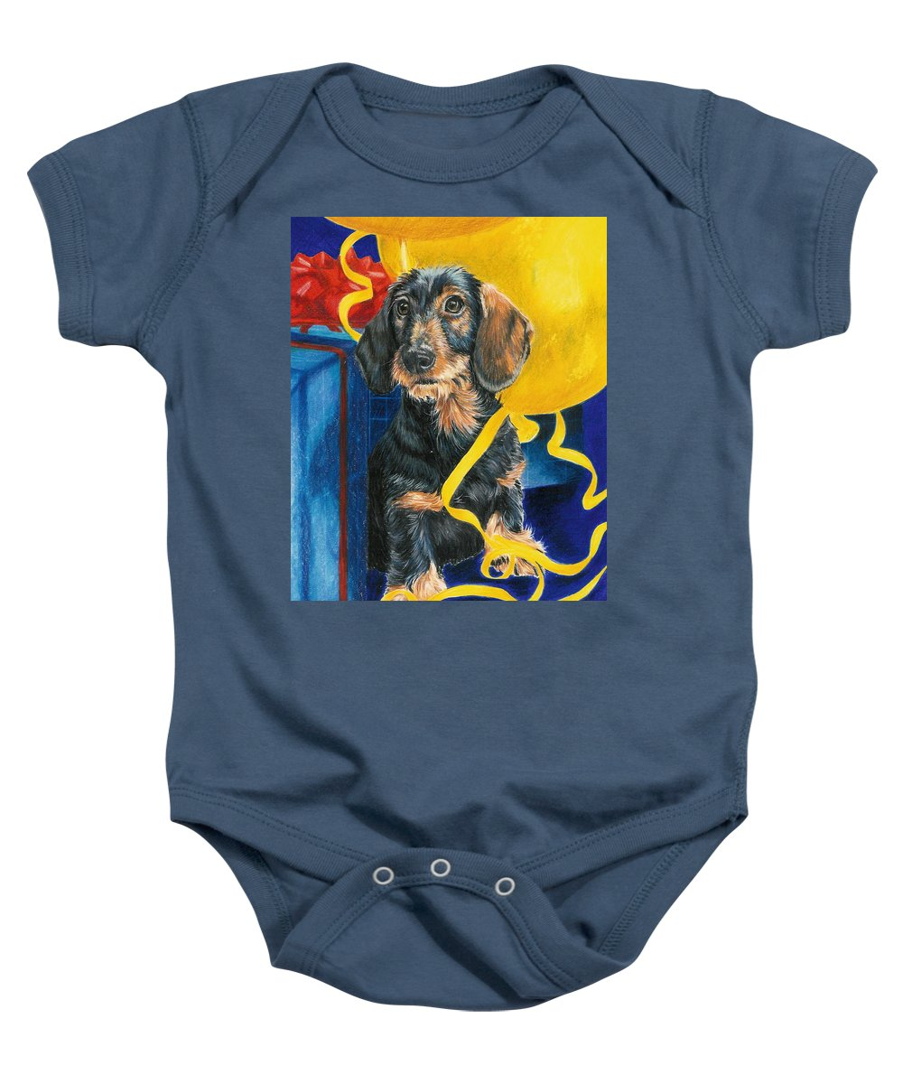 Dogs Baby Onesie featuring the drawing Happy Birthday by Barbara Keith