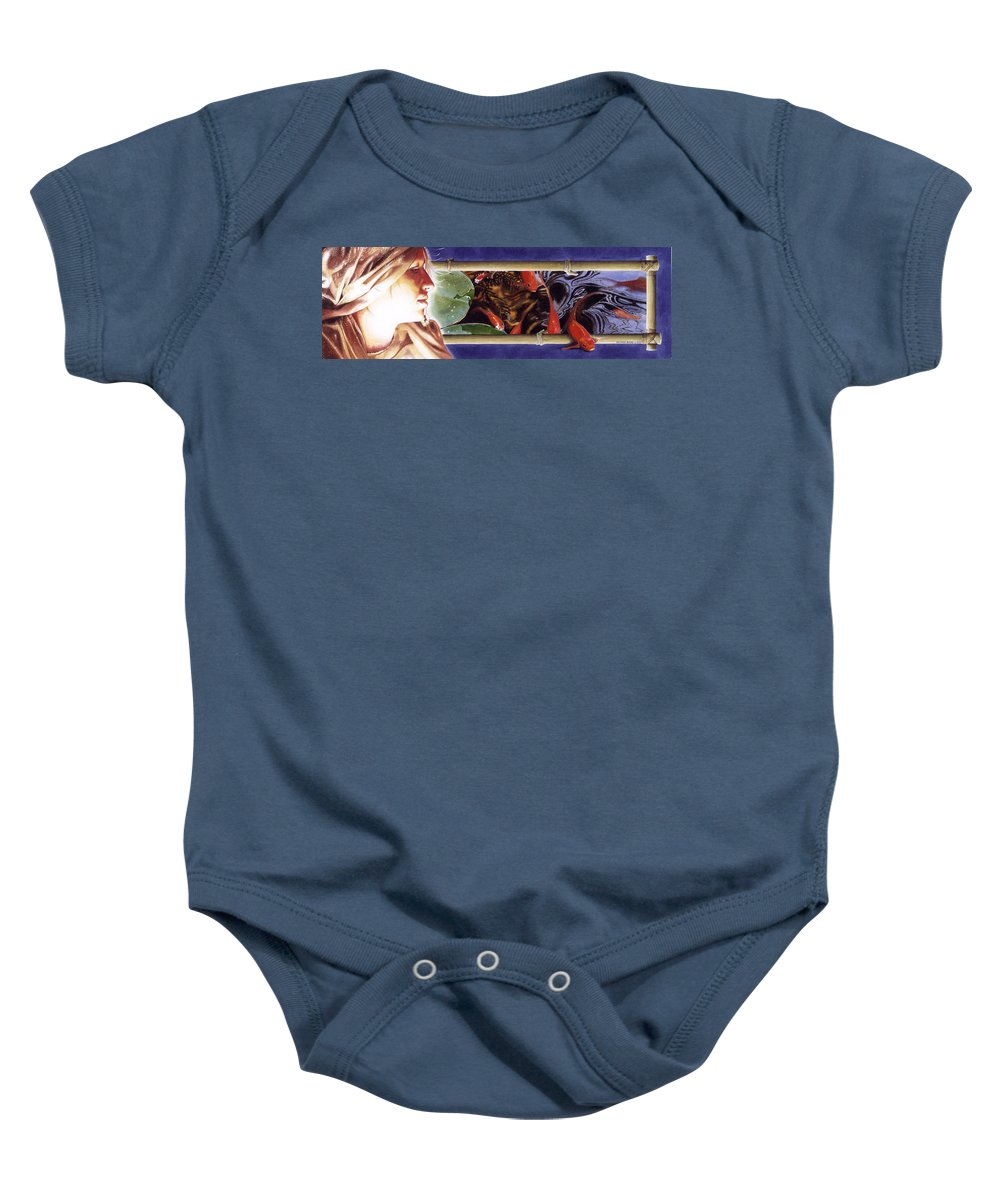 Portrait Baby Onesie featuring the painting Heads And Tails by Denny Bond