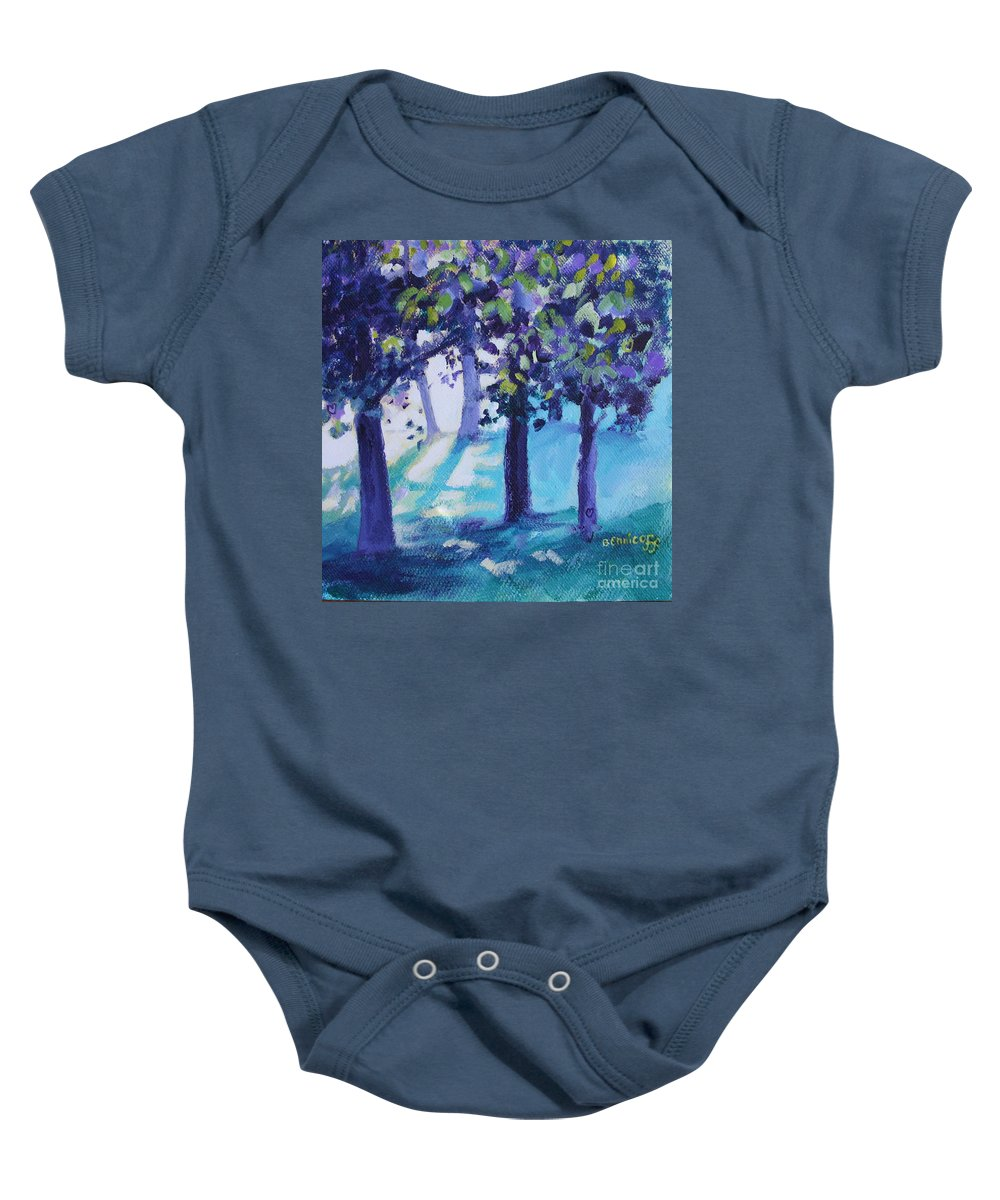 Expressionist Baby Onesie featuring the painting Heart Of The Forest by Jan Bennicoff