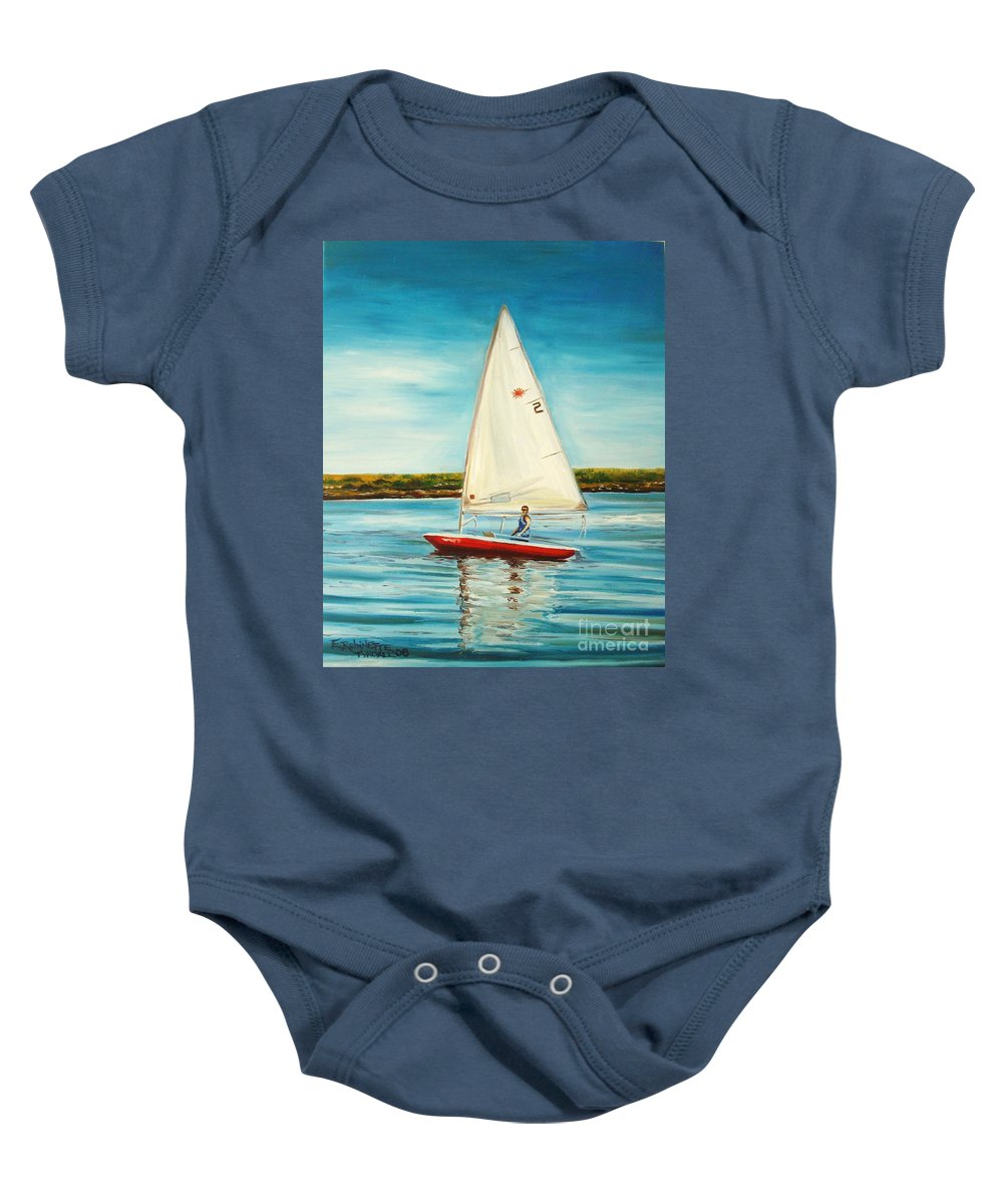 Water Baby Onesie featuring the painting His Laser by Elizabeth Robinette Tyndall