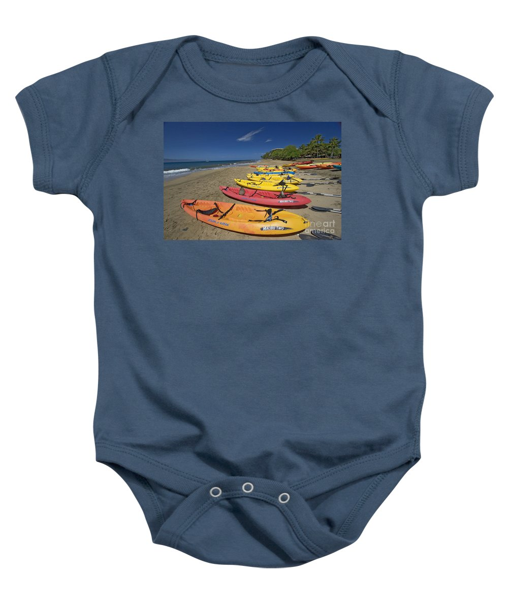 Beach Baby Onesie featuring the photograph Kayas On Beach by Dave Fleetham - Printscapes