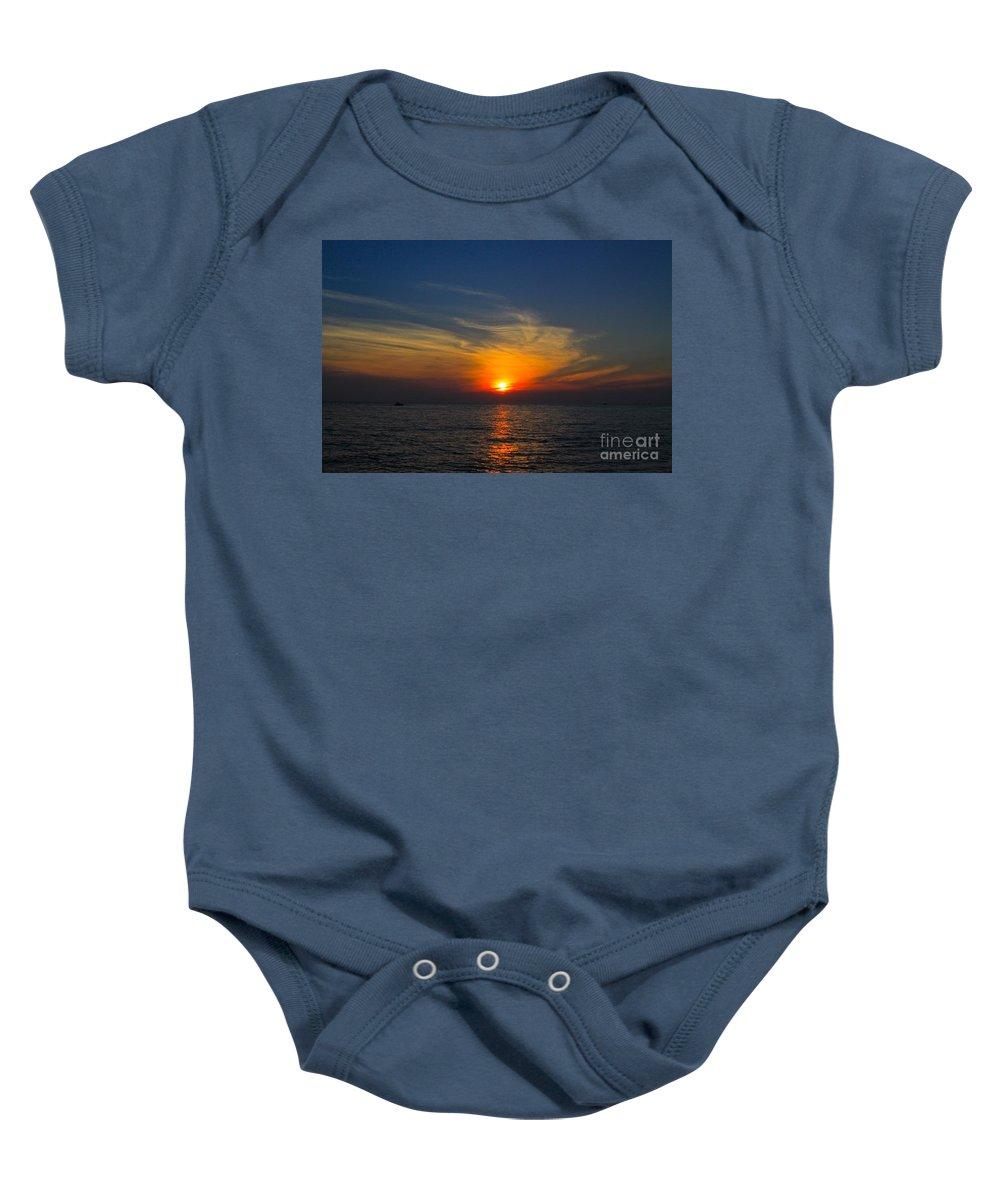 Lake Michigan Baby Onesie featuring the photograph Lake Michigan Sunset by Robert Pearson