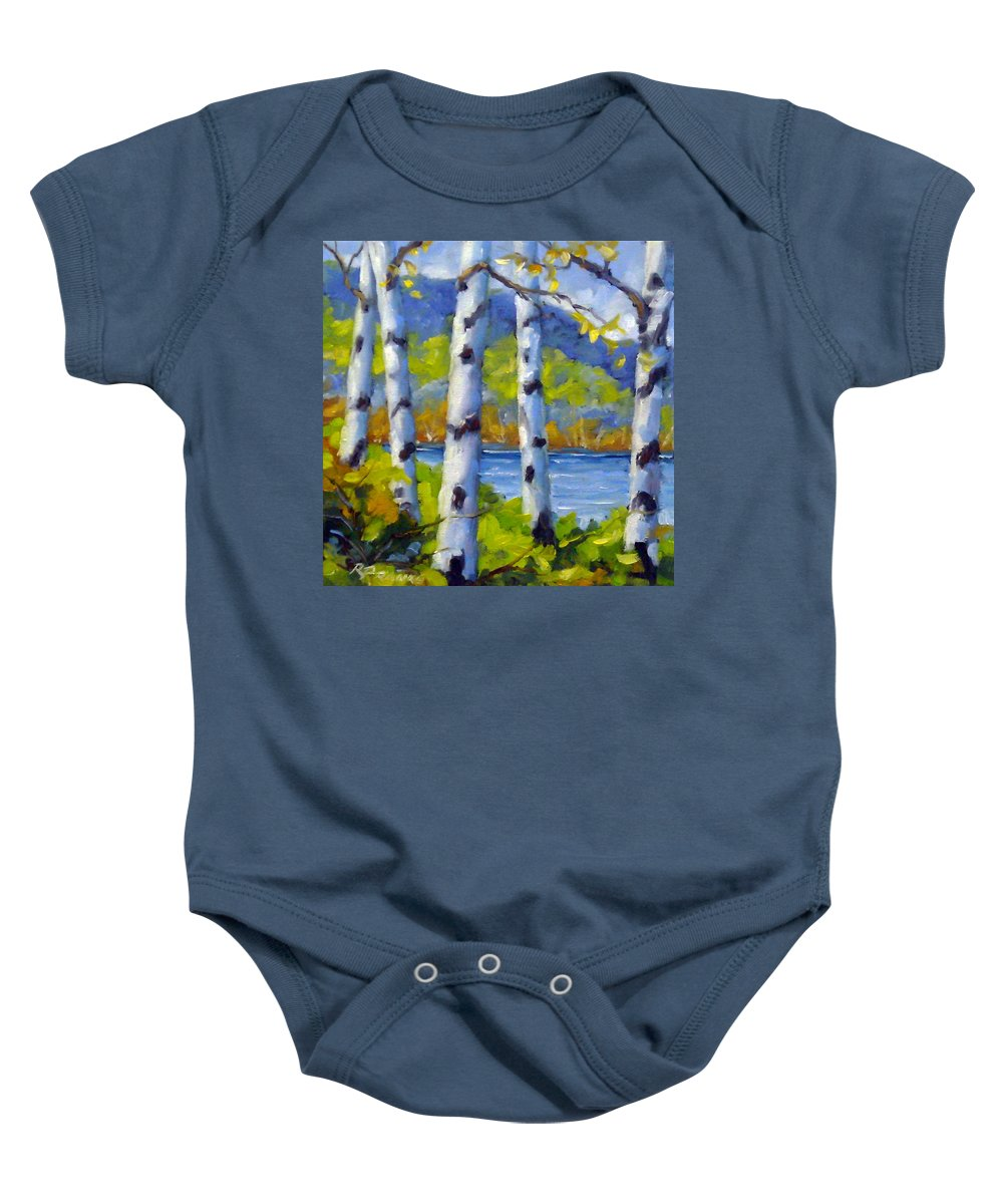 Original Painting;oil; Landscape; Birches; Trees; Nature; Richard T Pranke; Lake Baby Onesie featuring the painting Lake View by Richard T Pranke